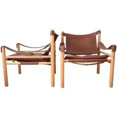 Pair of Mid-Century Swedish Arne Norell Sirocco Safari Chairs, 1970s 1