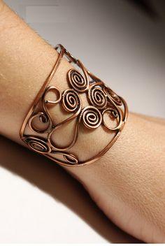 copper bangle wire wrapped