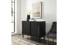 Everett 44'' Media Stand | Ashley Furniture HomeStore Sliding Cabinet Doors, Mid Century Modern Design, Furniture Deals, Apartment Furniture, Apartment Ideas, My Living Room, Adjustable Shelving, Decoration, All Modern