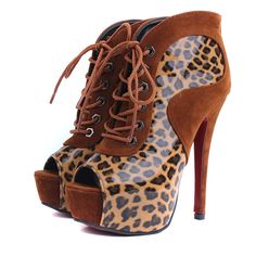 Attractive Peep Toe Lace Up Zipper Patchwork High Heel Boots Brown & Leopard - www.lojasdobraz.com.br