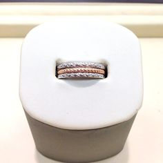 Stackable white and rose gold bangs #jewelry #rings #gold