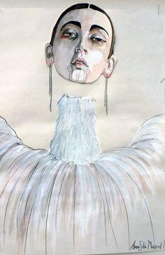 poster anne sofie madsen, face lines, line sketch, Fashion Illustration Face, Illustration Art Nouveau, Graphic Design Illustration, Fashion Sketches, Fashion Sketchbook, Illustrator, Nordic Tattoo, Face Images, Grafik Design