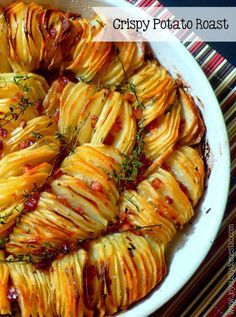 Crispy Potato Roast Try alternating slices of regular potatoes and sweet potatoes. Hot bacon dressing on potatoes?