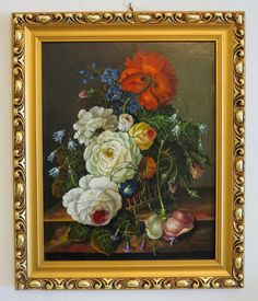 Antique flower painting, oil on canvas, signed and dated at the turn from chateau on Ruby Lane Baroque Painting, Canvas Signs, Ruby Lane, Colorful Flowers, Oil On Canvas, Antiques, Paintings, Beautiful, Beauty