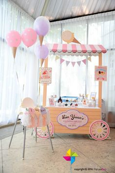 Party decoration ideas: Ice Cream Stand + Bar from an Ice Cream Parlor Birthday Party via Kara's Party IdeasHow cute is this little ice cream stand?Looking for a summer-themed birthday party? This Kara's Party Ideas featured Ice Cream Parlor Birthday Ice Cream Stand, Ice Cream Parlor, Ice Cream Cart, First Birthday Parties, Birthday Party Themes, First Birthdays, 19 Birthday, Birthday Ideas, Party Decoration