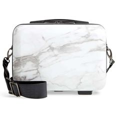 Calpak Women's Light Hard Shell Cosmetics Travel Small Vanity Case, Milk Marble Cosmetic Items, Cosmetic Case, Calpak Luggage, Toothbrush Storage, All Natural Makeup, Small Vanity, Large Shoulder Bags, Shoulder Strap, Makeup Case