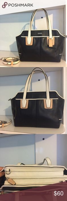 """Coach Taylor Spectator Leather Mini Tote Coach mini Tote / crossbody . Bag is still in good condition outside & great clean condition inside . As you can see in the pictures the only flaws of the bag are in the handles as they have dark marks but these are barely noticeable when in use. There's no corner wear , rips , tears or leather peeling as far as I'm aware. The long strap does show wear and marks as seen on the pictures. Bag is 13"""" wide and 8""""deep. Coach Bags Crossbody Bags"""