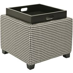 Safavieh Broadway Single Tray Hounds Tooth Storage Ottoman | Overstock.com Shopping - Great Deals on Safavieh Ottomans