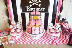 Nicole B's Birthday / Pirates - Kaitlyn's Birthday Pirate Party at Catch My Party 6th Birthday Girls, Fairy Birthday, Pirate Birthday, Birthday Parties, Birthday Ideas, Bridal Shower Cakes, Baby Shower Cakes, Girls Pirate Parties, Pirate Fairy Party