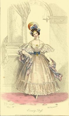 """antiquatedfashions:  """" Evening Dress from Court Magazine, England, 1834  """"The Court Magazine"""" was the name of the popular periodical """"La Belle Assemblee"""" from 1832 to 1837, though despite the name change it remained one of London's most popular women's..."""