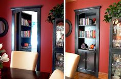 Hidden door bookshelf, every house needs one! I know a hoot friend in RI that has something like this....awesome!!!!