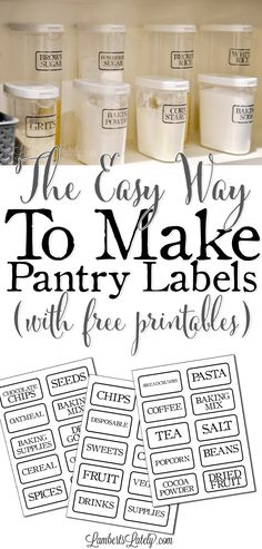 This is such a great DIY for how to make clear pantry labels.there are even free farmhouse-style printable labels included! She simply uses packing tape to make these without a vinyl cutter/Cricut. Very vintage looking!