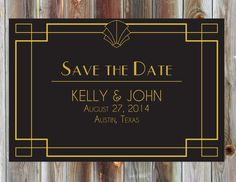 Art Deco Wedding Save the Date  1920s Fan by BeautifullyBevilled, $20.00