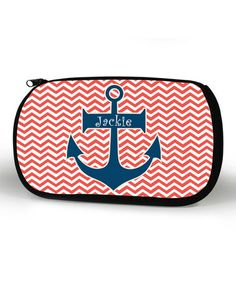 Another great find on #zulily! Coral Zigzag Anchor Personalized Cosmetic Bag by Appealing Prints #zulilyfinds