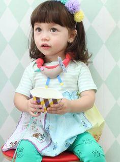 annikaアニカ ピナミニワンピース(ミント) - 韓国子供服amber,annikaのtsubomiかわいい輸入服のセレクトショップ