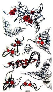 Kinghorse Temporary Tattoo Stickers for Women (Death Skull and Vivid Red Rose and Wing of Sword a Few) by KingHorse. $1.27. Ships from and sold by MicroDeal, MicroDeal® Trademark cleaning cloth around 4.7 Inch, one piece per order.. Fashionable, eye catching designs.. easily water transfer on and remove by baby oil.. F.D.A, EN71, ASTM or CE approval. Non-toxic.. long lasting for 5~7 days.. F.D.A, EN71, ASTM or CE approval. Non-toxic.Fashionable, eye catching de...