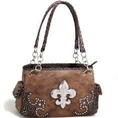 Women's Fashion Western Handbag w Fleur de Lis Adornment Metallic Trim Brown | eBay