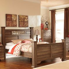 Signature Design by Ashley Allymore Brown Poster Bed - Overstock™ Shopping - Great Deals on Signature Design by Ashley Beds $650