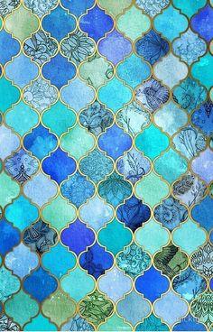 'Cobalt Blue, Aqua & Gold Decorative Moroccan Tile Pattern' iPhone Case by micklyn Kobaltblau, Aqua & Gold dekorative marokkanische Fliesenmuster Moroccan Tiles, Moroccan Decor, Moroccan Pattern, Moroccan Design, Moroccan Colors, Moroccan Blue, Moroccan Tile Bathroom, Moroccan Wall Art, Persian Pattern