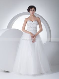 Strapless Satin and Tulle Wedding Gown with Brilliant Beading