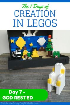 7 Days of Creation in Legos {Day 7 - God Rested} - Celebrate Every Day With Me Bible Crafts For Kids, Preschool Bible, Vbs Crafts, Crafts To Do, Projects For Kids, Bible Activities, Genesis Creation, 7 Days Of Creation, Creation Bible