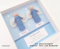 Geschenk für Zwillinge, Geschenk zur Geburt Zwillinge, Schutzengel Bild für Zwillinge, Wollfilzengel 2