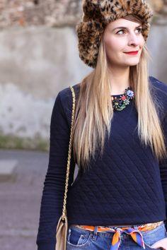 French blogger Zoé Macaron wearing our women's diamond padded tube knit sweatshirt - #PetitBateau