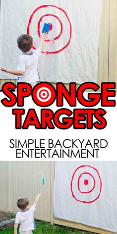Sponge Targets: A silly fun backyard activity; easy toddler activity; quick outdoor activity