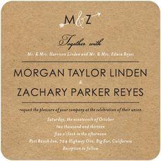 Signature White Wedding Invitations Kraft Arrow - Front : Marigold