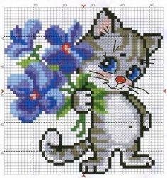 Kitten with flowers cross stitch