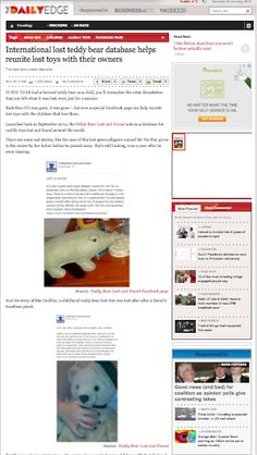 DAILYEDGE  http://www.dailyedge.ie/teddy-bear-lost-and-found-1272896-Jan2014