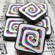 Polymer Clay Beads  Looks like sushi rolls!