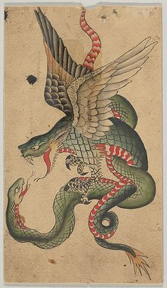 Clark & Sellers (American, active 20th century). Tattoo Design with a Dragon and Snake (Inspired by Japanese Examples), ca. 1900-1945.  The Metropolitan Museum of Art, New York. Harris Brisbane Dick Fund, 1946 (46.24.6)