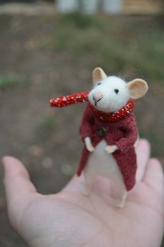 The Little Mouse with recycled coat and scarf with glitter needle felted ornament animal, felting dreams by johana molina - made to order. $68.00, via Etsy.