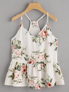Cheap racerback cami, Buy Quality cami top directly from China spaghetti strap camisole Suppliers: SheIn Boho Women Tops Summer 2017 Ladies Spaghetti Strap Camisole Rose Cluster Print Peplum Racerback Cami Top Cami Tops, Women's Tops, Fashion Clothes, Fashion Outfits, Womens Fashion, Fashion Styles, Fashion Fashion, Fashion Ideas, Vintage Fashion