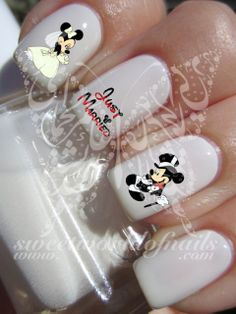 Wedding Nail Art Mickey Minnie mouse Just Married Water Decals Transfers wraps