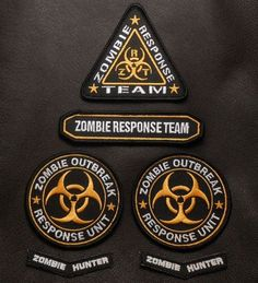 ZOMBIE-OUTBREAK-RESPONSE-TEAM-TACTICAL-HUNTER-UNIFORM-HI-VIZ-VELCRO-PATCH-SET