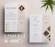 "Two-Page Media Kit Template | Press Kit Template | Electronic Press Kit | Instant Digital Download (MS Word) | ""Life is Golden"" 2-Pages"