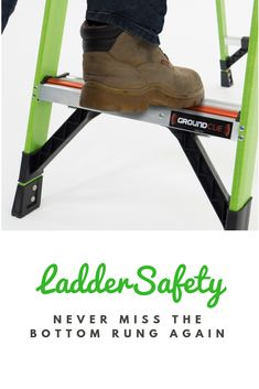 Missing the bottom rung causes close to 20 percent of all ladder-related accidents. In fact, people have even filed lawsuits over the issue. Luckily, the Ground Cue™ bottom rung indicator can help prevent these accidents.    Check out our blog post for more about the Ground Cue and how it is helping reduce ladder-related accidents and injuries. In Law Suite, Ladder, Safety, Audio, People, Blog, Check, Security Guard, Stairway
