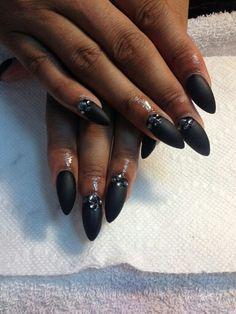 Black matte stilleto nails