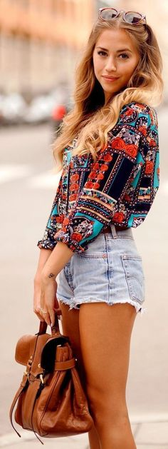 very cute styling! High waisted denim shorts and tribal button up shirt. Women's street style urban fashion clothing outfit for spring summer