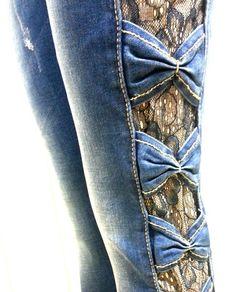 Jeans elasticizzati Donna Fiocchi e Pizzo laterali    taglia M/42-44    Cotone
