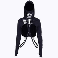 Gothic Punk Hooded Hoodies Women Black Skeleton Print Mask Long Sleeve Crop Tops Halloween Top Sweatshirt Size S Color black hoodie Crop Top Hoodie, Black Hoodie, Cropped Hoodie Outfit, Gothic Hoodies, Printed Sweatshirts, Hooded Sweatshirts, Mode Emo, Skull Hoodie, Skeleton Hoodie
