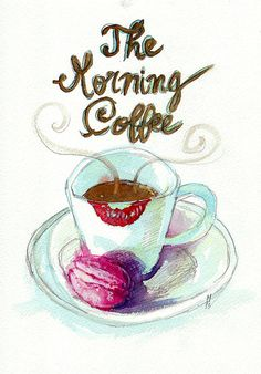 Original Watercolour and Pencil Illustration - The Morning Coffee with Ladurée