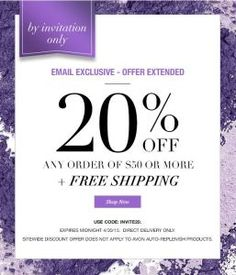 20% Off Avon Offer EXTENDED thru 4/30/15. Take 20% OFF and get FREE SHIPPING on any order over $50. Check out my Mother's Day recommendations. Shop with me at https://andreafitch.avonrepresentative.com/