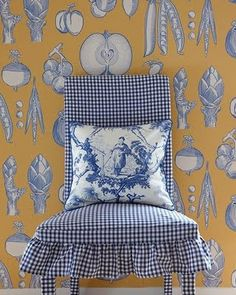"Blue gingham chair with toile pillow, plus unique ""vegetable toile"" wallpaper!"