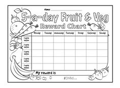 Download and print this special reward chart, which can be personalised and coloured in. It offers a great way to incentivise healthy eating, and reward your little one for eating 5 portions of fruit and veg a day! Stickers can be used to make this healthy eating chart more fun!