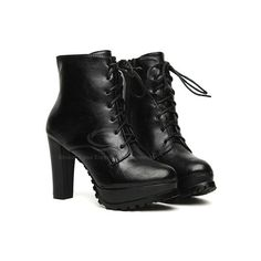Casual Solid Color and Lace-Up Chunky Heel Design Women's Combat Boots ($36) ❤ liked on Polyvore