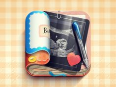 This looks like a good app for moms. its a way of keeping up on your baby. i like how it looks like its's been used a lot. it looks really clean and really well done. i like how it has really good shading and light on the book and the pen.