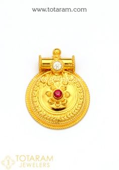 22 Karat Gold Mangalsutra Thali Pendant With Cz & Red Stone Gold Bangles Design, Gold Earrings Designs, Trendy Jewelry, Gold Jewelry, Jewellery, High Jewelry, Buy Gold Online, Gold Jhumka Earrings, Gold Necklace